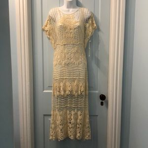 Forever 21 lace long lace dress cream size S NWT